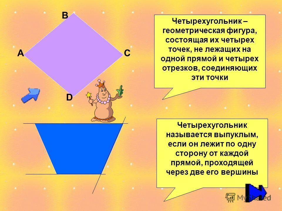 Четырехугольник – геометрическая фигура, состоящая их четырех точек, не лежащих на одной прямой и четырех отрезков, соединяющих эти точки А В С D Четырехугольник называется выпуклым, если он лежит по одну сторону от каждой прямой, проходящей через дв