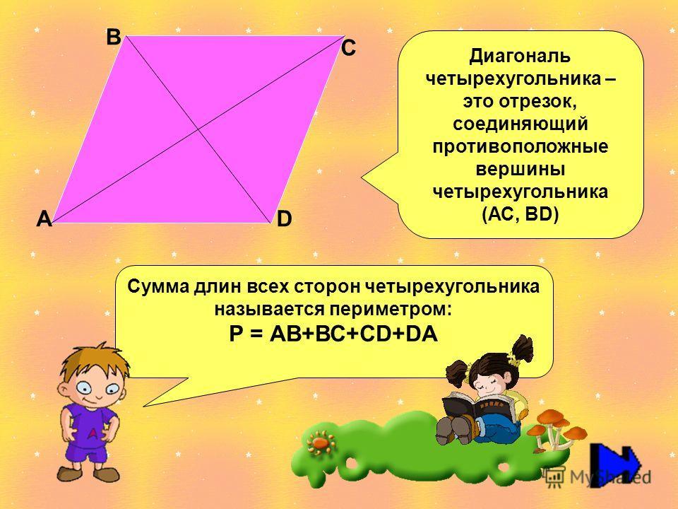 А В С D Диагональ четырехугольника – это отрезок, соединяющий противоположные вершины четырехугольника (АС, ВD) Сумма длин всех сторон четырехугольника называется периметром: Р = АВ+ВС+СD+DА