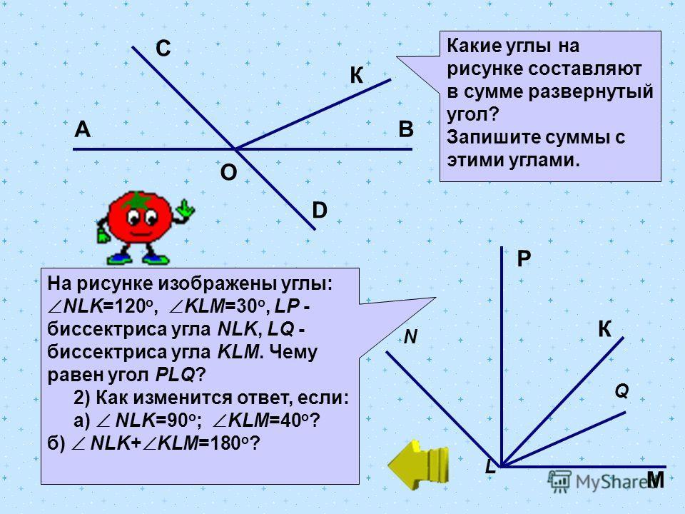 D АВ С О К Какие углы на рисунке составляют в сумме развернутый угол? Запишите суммы с этими углами. На рисунке изображены углы: NLK=120 о, KLM=30 о, LP - биссектриса угла NLK, LQ - биссектриса угла KLM. Чему равен угол PLQ? 2) Как изменится ответ, е