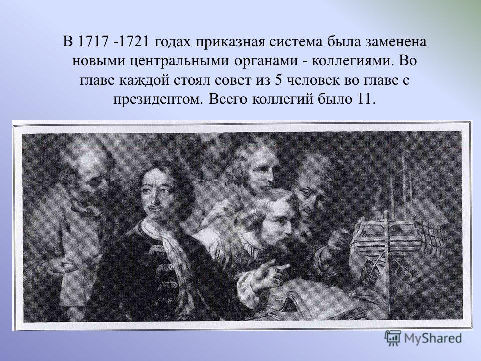 В 1717 -1721 годах приказная система была заменена новыми центральными органами - коллегиями. Во главе каждой стоял совет из 5 человек во главе с президентом. Всего коллегий было 11.