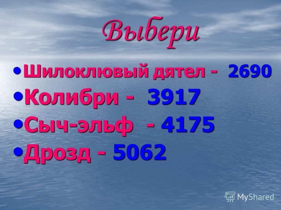 Выбери Шилоклювый дятел - 2690 Шилоклювый дятел - 2690 Колибри - 3917 Колибри - 3917 Сыч-эльф - 4175 Сыч-эльф - 4175 Дрозд - 5062 Дрозд - 5062