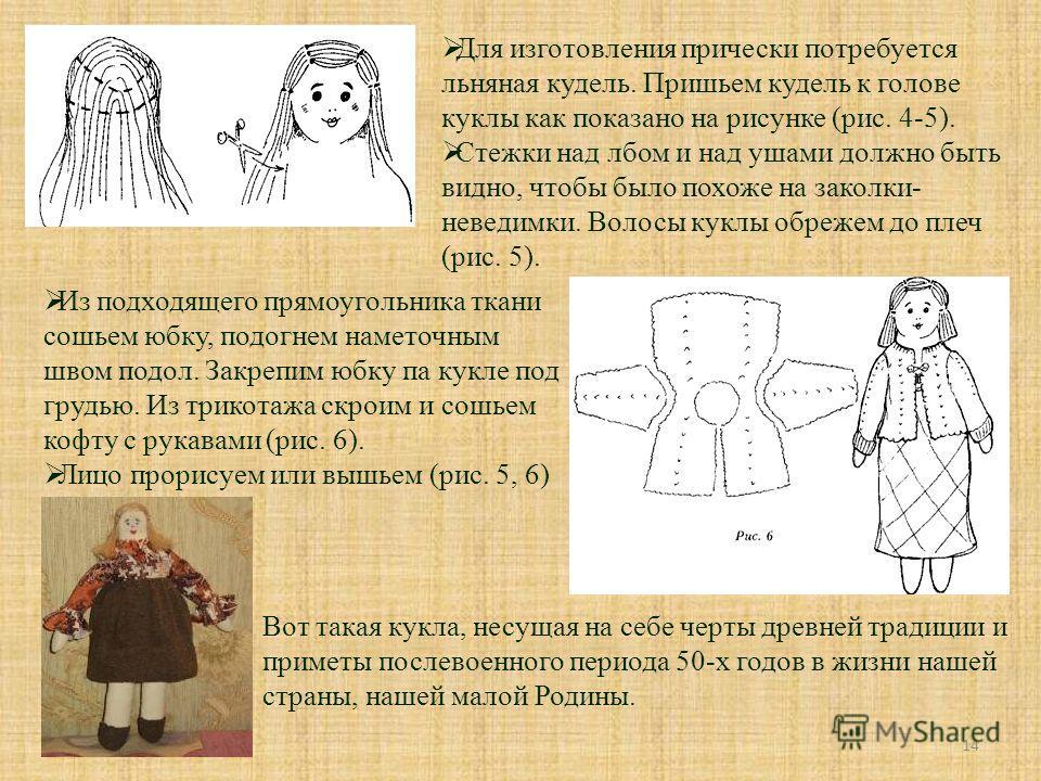 14 Для изготовления прически потребуется льняная кудель. Пришьем кудель к голове куклы как показано на рисунке (рис. 4-5). Стежки над лбом и над ушами должно быть видно, чтобы было похоже на заколки- неведимки. Волосы куклы обрежем до плеч (рис. 5).