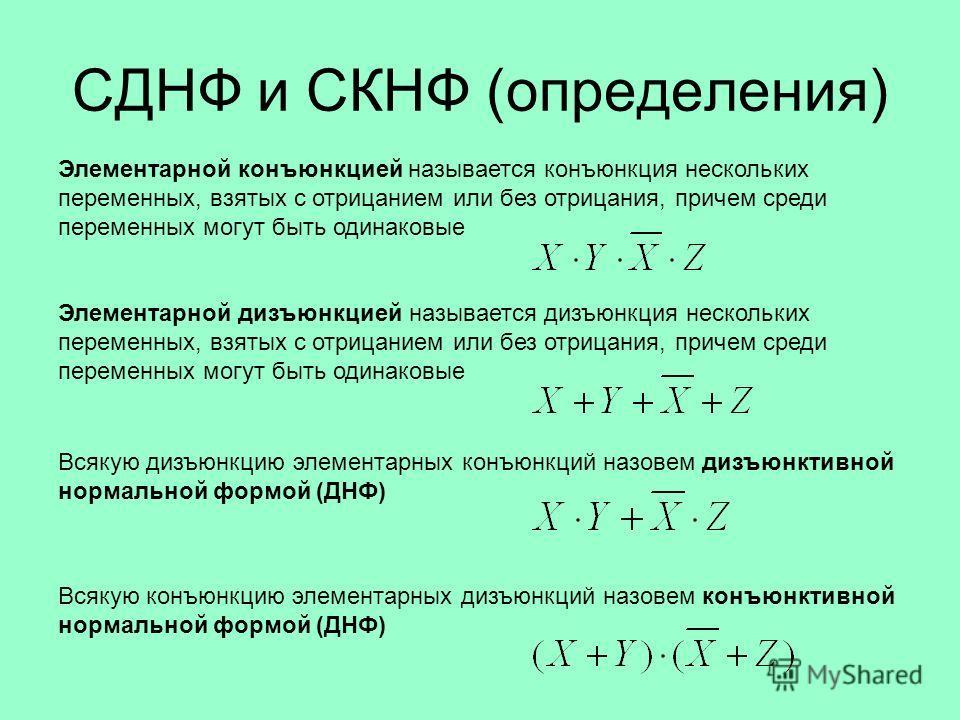 СДНФ и СКНФ (определения) Элементарной конъюнкцией называется конъюнкция нескольких переменных, взятых с отрицанием или без отрицания, причем среди переменных могут быть одинаковые Элементарной дизъюнкцией называется дизъюнкция нескольких переменных,