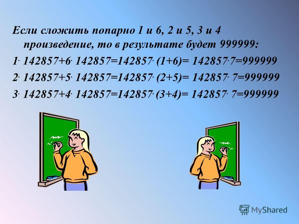 Если сложить попарно 1 и 6, 2 и 5, 3 и 4 произведение, то в результате будет 999999: 1. 142857+6. 142857=142857. (1+6)= 142857. 7=999999 2. 142857+5. 142857=142857. (2+5)= 142857. 7=999999 3. 142857+4. 142857=142857. (3+4)= 142857. 7=999999