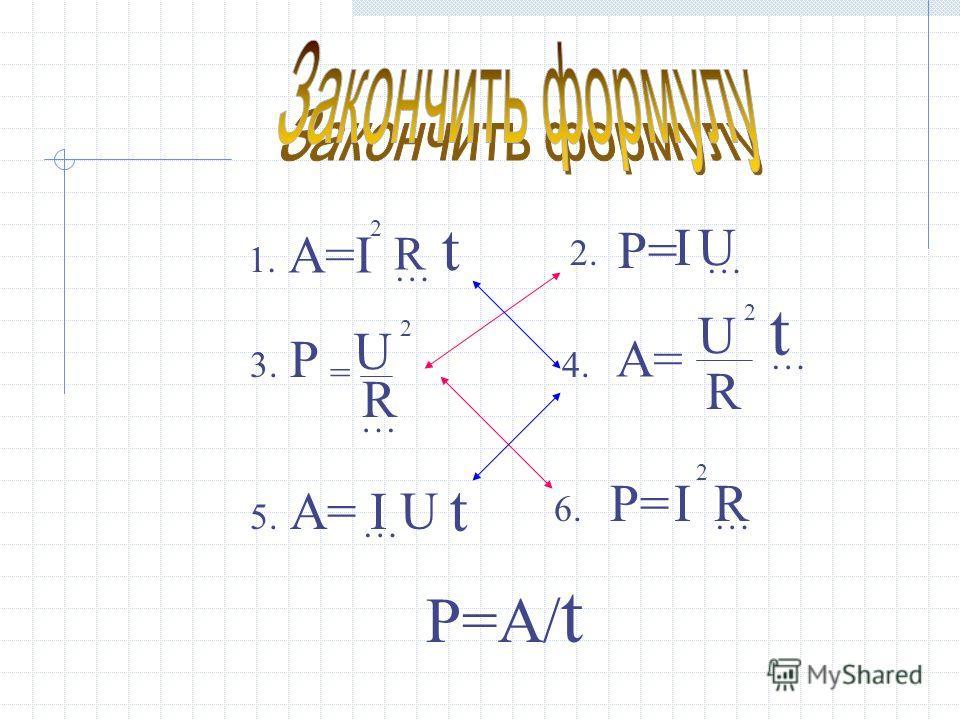 А=I 2 … t R 1.1. 2. P=P= I … U 3.3. P U = 2 … R 4. А= U 2 R … t 5.5. … U t I 6.6. P=P=I 2 … R P=А/ t
