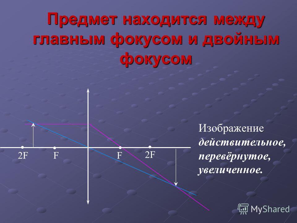 Предмет находится между главным фокусом и двойным фокусом Изображение действительное, перевёрнутое, увеличенное. FF2F