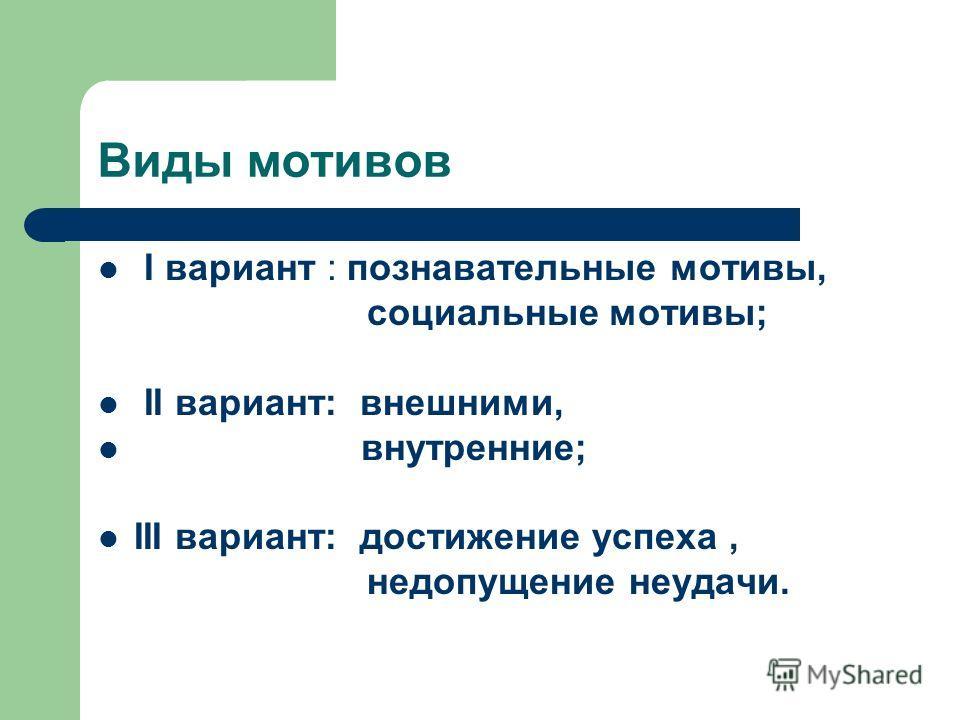 Виды мотивов I вариант : познавательные мотивы, социальные мотивы; II вариант: внешними, внутренние; III вариант: достижение успеха, недопущение неудачи.