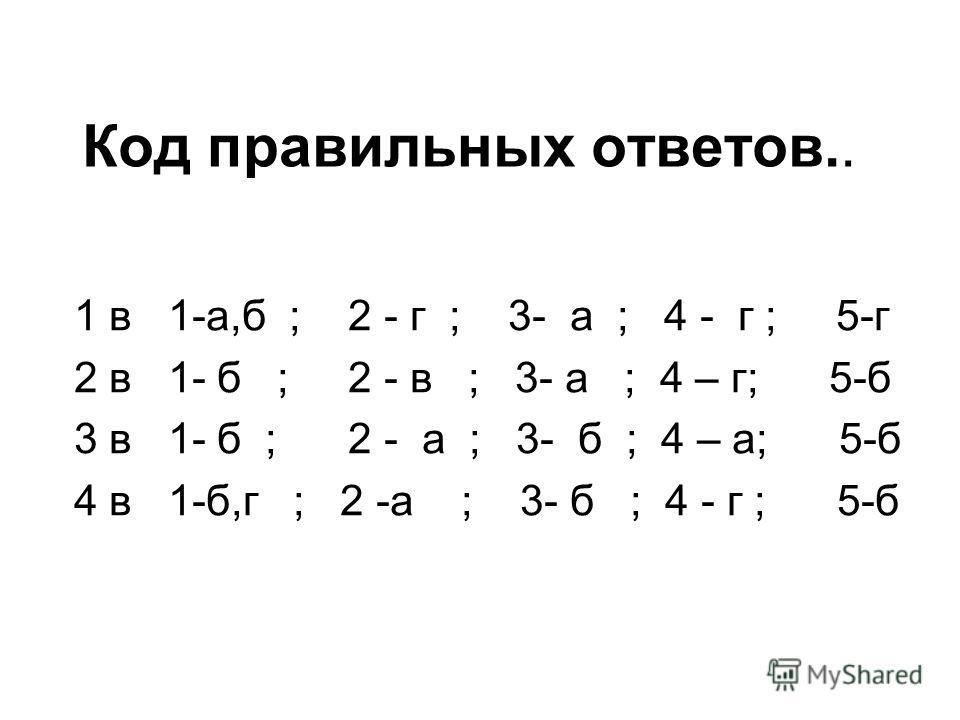 Код правильных ответов.. 1 в 1-а,б ; 2 - г ; 3- а ; 4 - г ; 5-г 2 в 1- б ; 2 - в ; 3- а ; 4 – г; 5-б 3 в 1- б ; 2 - а ; 3- б ; 4 – а; 5-б 4 в 1-б,г ; 2 -а ; 3- б ; 4 - г ; 5-б