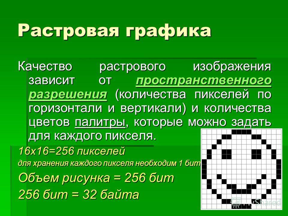 Растровая графика Качество растрового изображения зависит от пространственного разрешения (количества пикселей по горизонтали и вертикали) и количества цветов палитры, которые можно задать для каждого пикселя. 16x16=256 пикселей для хранения каждого