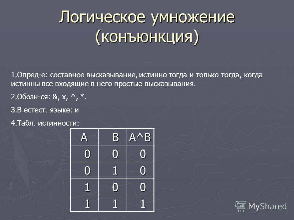 Таблица истинности Таблица истинности Для каждого сост. высказывания можно составить таблицу истинности, которая определит его истинность или ложность. При построении таблицы истинности следовать определенной последовательностью действий: 1. Необходи
