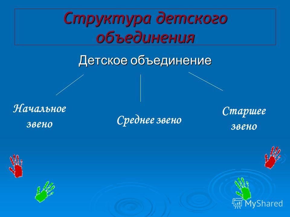 Структура детского объединения Детское объединение Начальное звено Среднее звено Старшее звено