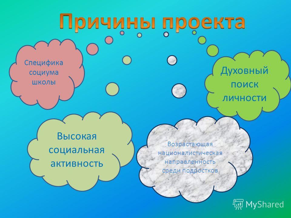 Специфика социума школы Высокая социальная активность Духовный поиск личности Возрастающая националистическая направленность среди подростков