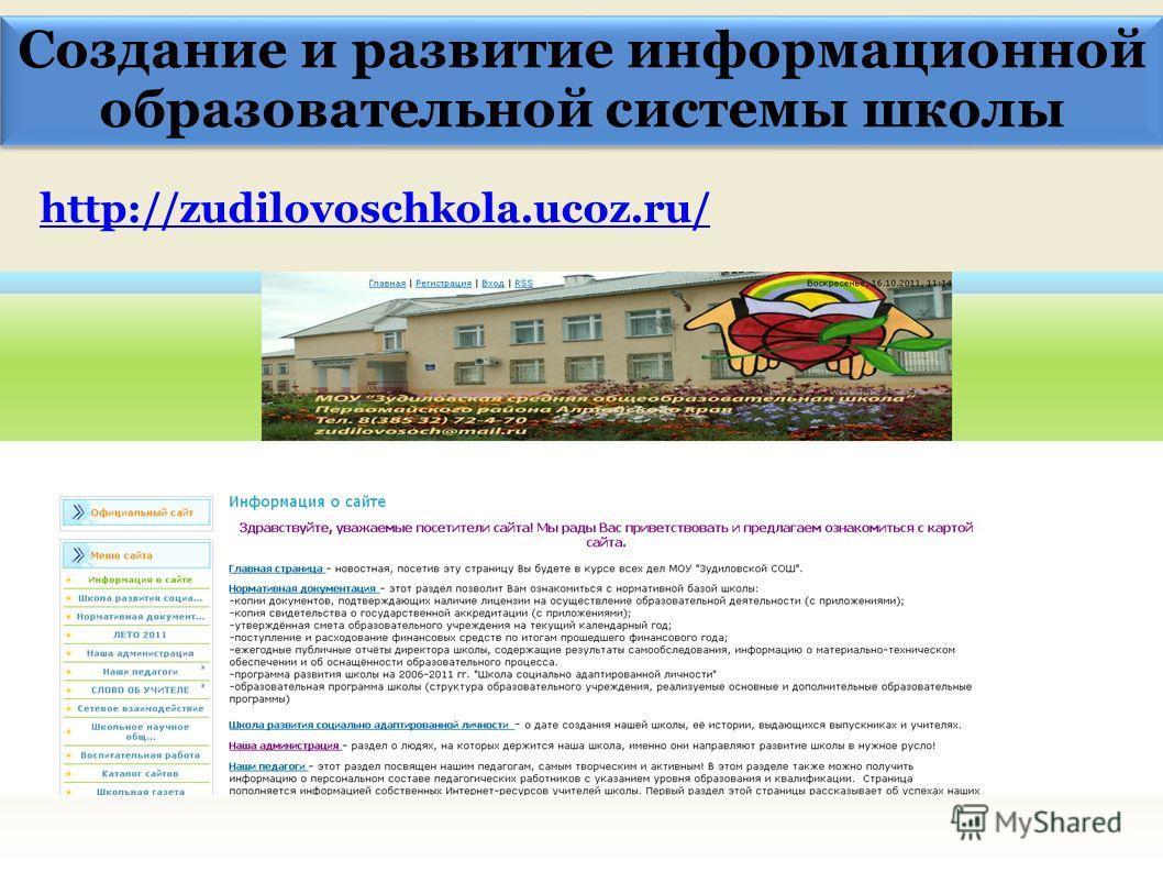 Создание и развитие информационной образовательной системы школы http://zudilovoschkola.ucoz.ru/