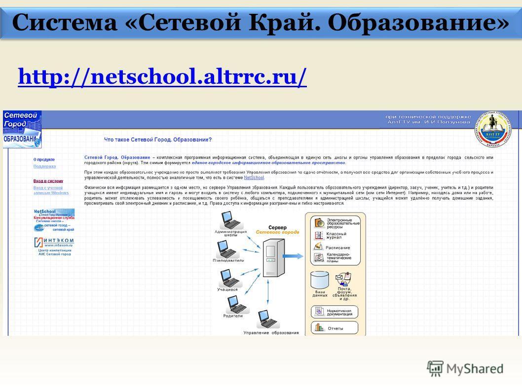 Система «Сетевой Край. Образование» http://netschool.altrrc.ru/