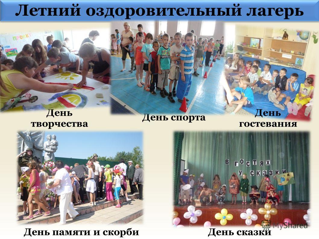 Летний оздоровительный лагерь День творчества День сказки День гостевания День памяти и скорби День спорта