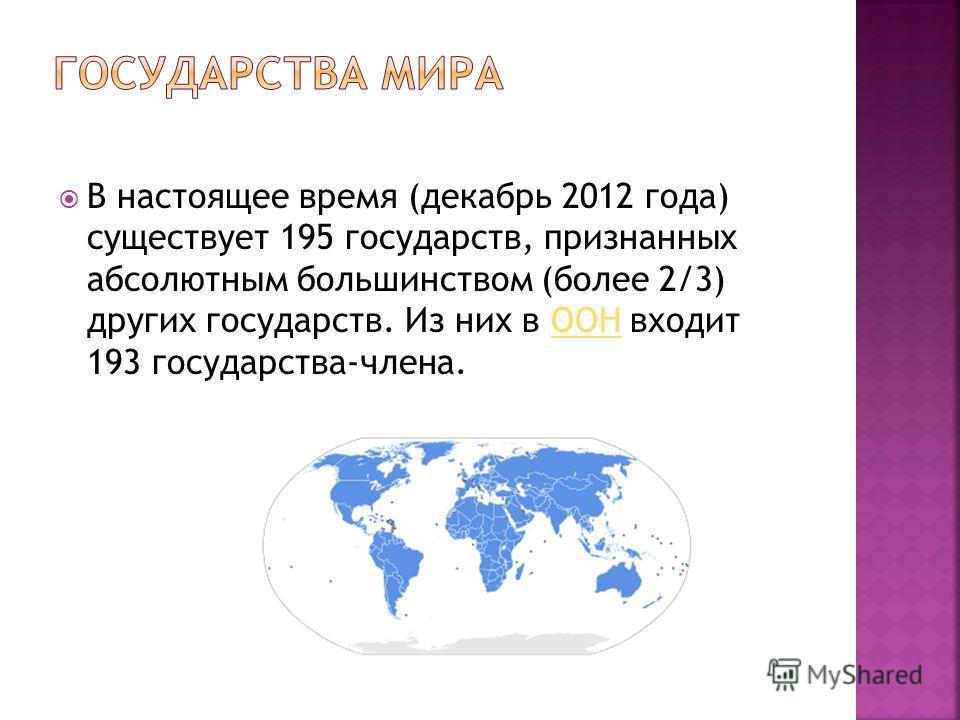 В настоящее время (декабрь 2012 года) существует 195 государств, признанных абсолютным большинством (более 2/3) других государств. Из них в ООН входит 193 государства-члена.ООН