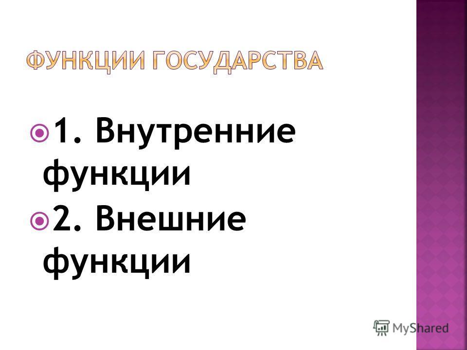 1. Внутренние функции 2. Внешние функции