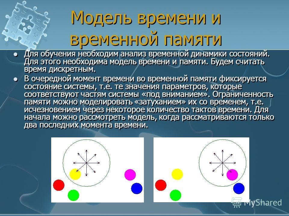 Модель времени и временной памяти Для обучения необходим анализ временной динамики состояний. Для этого необходима модель времени и памяти. Будем считать время дискретным. В очередной момент времени во временной памяти фиксируется состояние системы,