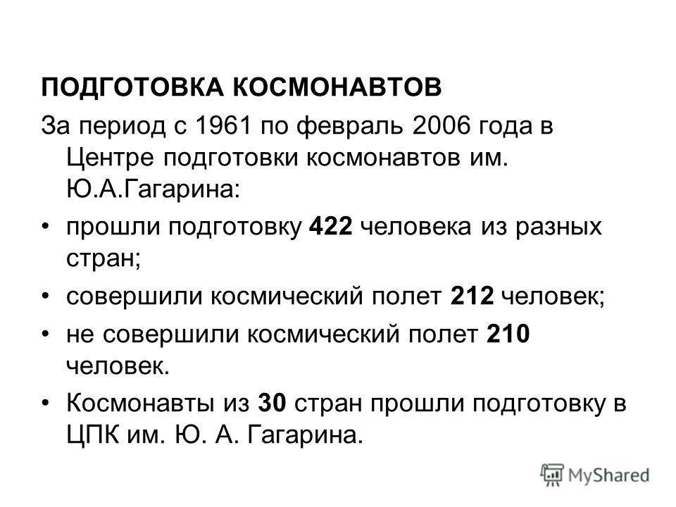 ПОДГОТОВКА КОСМОНАВТОВ За период с 1961 по февраль 2006 года в Центре подготовки космонавтов им. Ю.А.Гагарина: прошли подготовку 422 человека из разных стран; совершили космический полет 212 человек; не совершили космический полет 210 человек. Космон