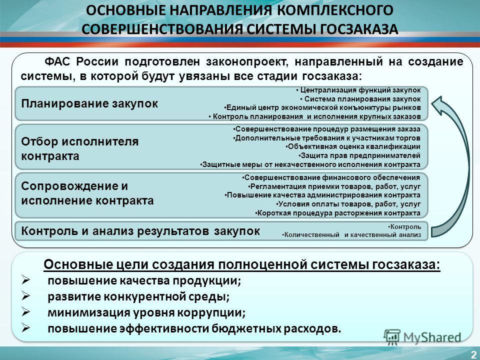 2 ФАС России подготовлен законопроект, направленный на создание системы, в которой будут увязаны все стадии госзаказа: Основные цели создания полноценной системы госзаказа: повышение качества продукции; развитие конкурентной среды; минимизация уровня