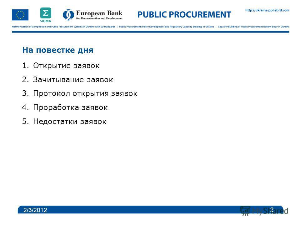 На повестке дня 1.Открытие заявок 2.Зачитывание заявок 3.Протокол открытия заявок 4.Проработка заявок 5.Недостатки заявок 2 2/3/2012