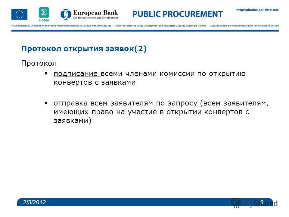 Протокол открытия заявок(2) Протокол подписание всеми членами комиссии по открытию конвертов с заявками отправка всем заявителям по запросу (всем заявителям, имеющих право на участие в открытии конвертов с заявками) 2/3/2012 9