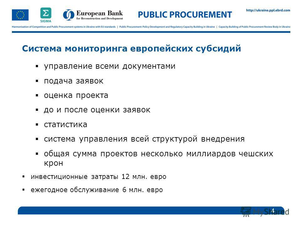 Система мониторинга европейских субсидий управление всеми документами подача заявок оценка проекта до и после оценки заявок статистика система управления всей структурой внедрения общая сумма проектов несколько миллиардов чешских крон инвестиционные