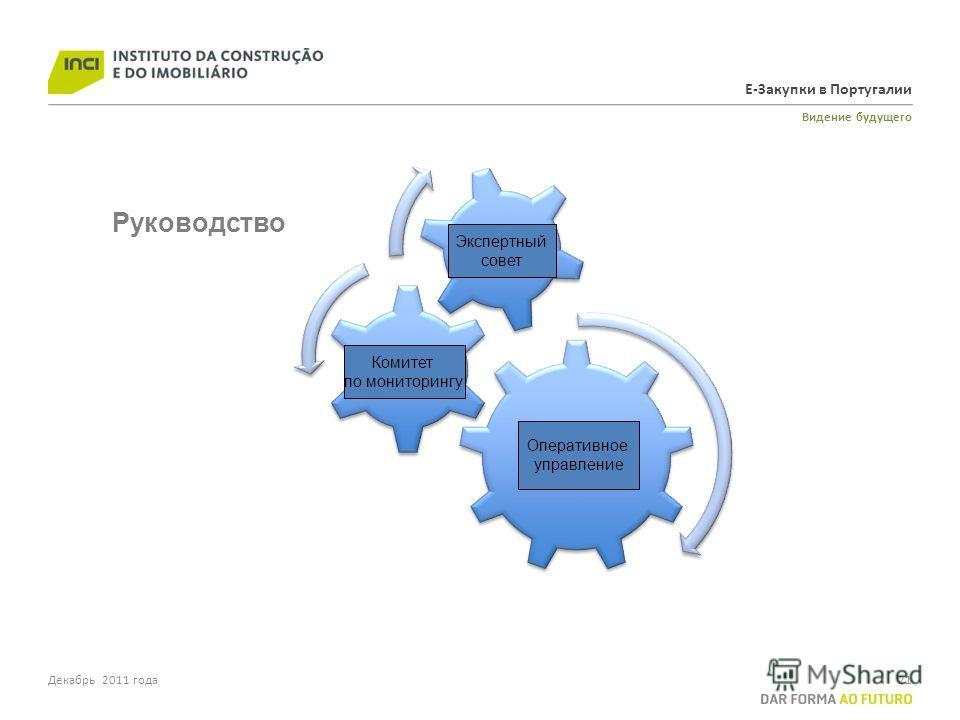 Е-Закупки в Португалии Видение будущего 21Декабрь 2011 года Operational Management Monitoring Comitee Decision Board Руководство Экспертный совет Комитет по мониторингу Оперативное управление