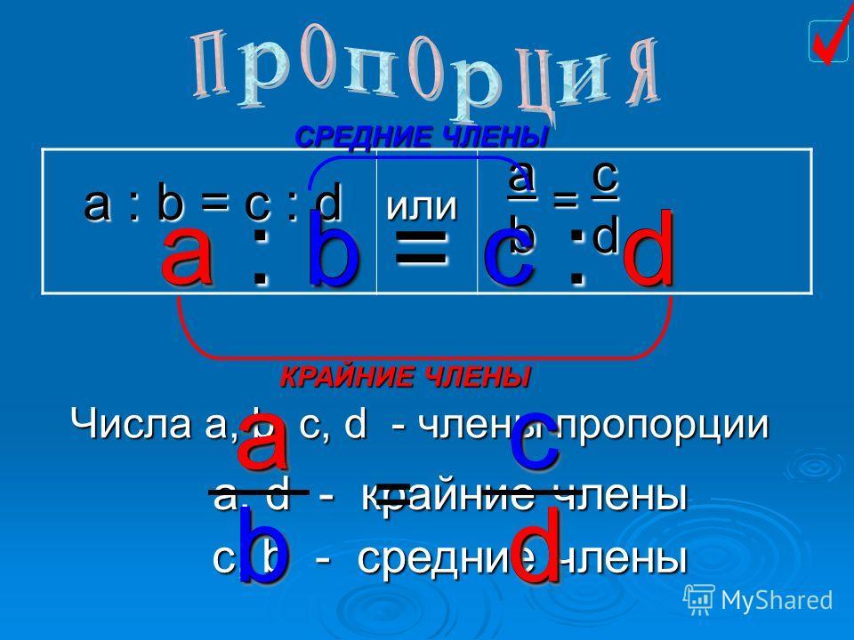 a : b = c : d или a b = c d a : b = c : d a d КРАЙНИЕ ЧЛЕНЫ b c СРЕДНИЕ ЧЛЕНЫ Числа а, b, c, d - члены пропорции а, d - крайние члены с, b - средние члены a b c d = a db c