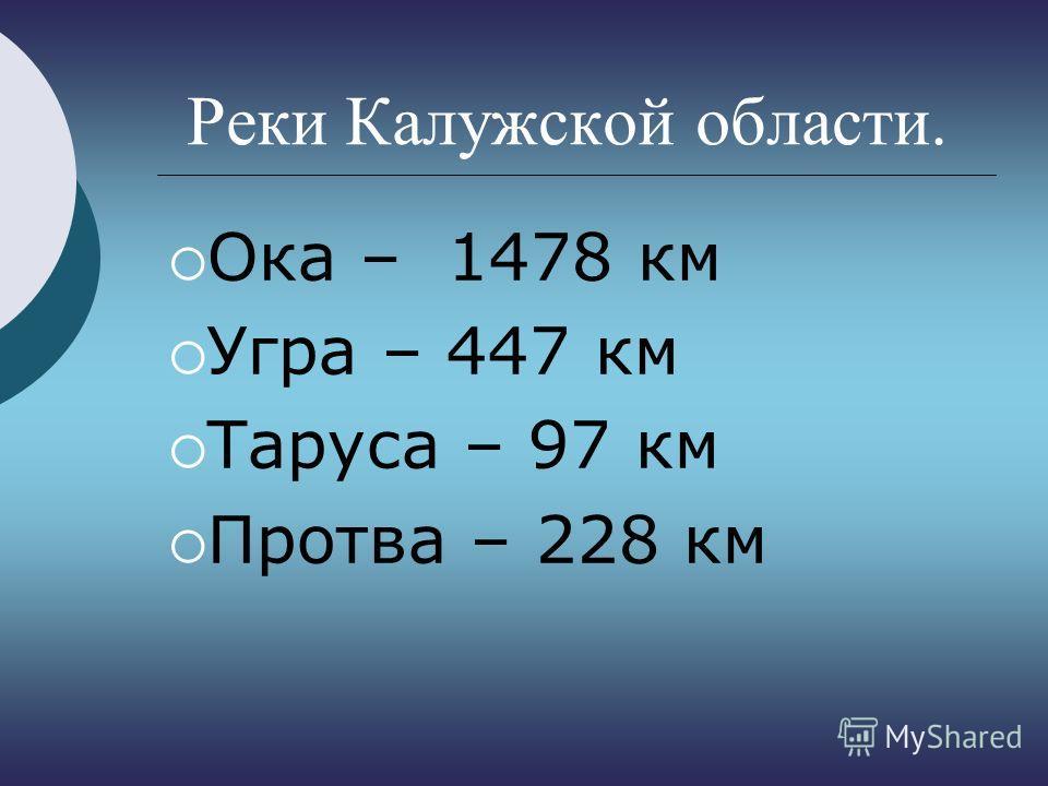 Реки Калужской области. Ока – 1478 км Угра – 447 км Таруса – 97 км Протва – 228 км
