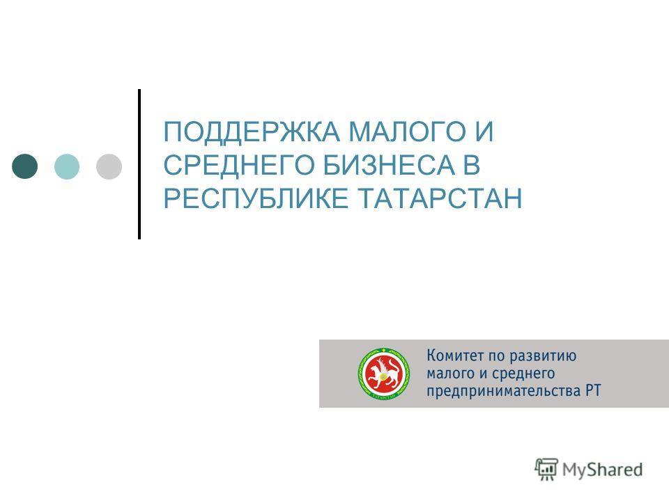 ПОДДЕРЖКА МАЛОГО И СРЕДНЕГО БИЗНЕСА В РЕСПУБЛИКЕ ТАТАРСТАН