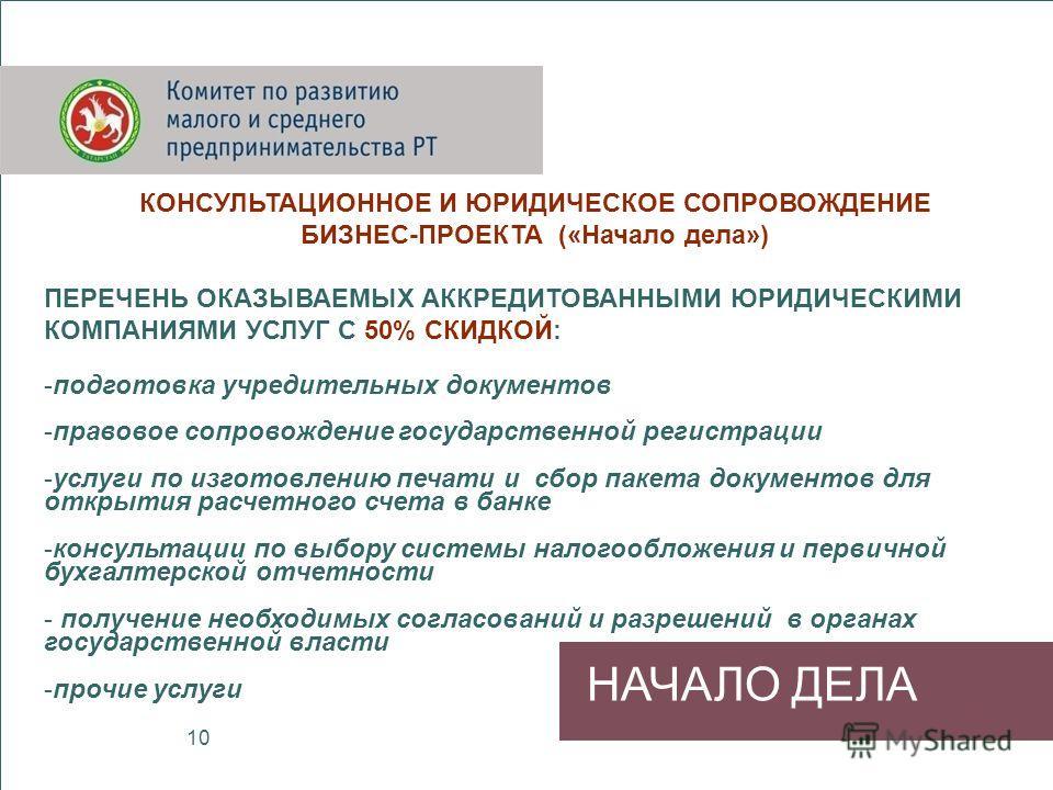 НАЧАЛО ДЕЛА КОНСУЛЬТАЦИОННОЕ И ЮРИДИЧЕСКОЕ СОПРОВОЖДЕНИЕ БИЗНЕС-ПРОЕКТА («Начало дела») ПЕРЕЧЕНЬ ОКАЗЫВАЕМЫХ АККРЕДИТОВАННЫМИ ЮРИДИЧЕСКИМИ КОМПАНИЯМИ УСЛУГ С 50% СКИДКОЙ: -подготовка учредительных документов -правовое сопровождение государственной ре