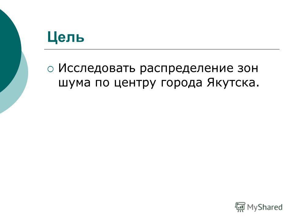 Цель Исследовать распределение зон шума по центру города Якутска.