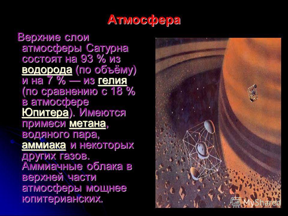 Атмосфера Верхние слои атмосферы Сатурна состоят на 93 % из вввв оооо дддд оооо рррр оооо дддд аааа (по объёму) и на 7 % из г г г г г ееее лллл ииии яяяя(по сравнению с 18 % в атмосфере ЮЮЮЮ пппп ииии тттт ееее рррр аааа). Имеются примеси м м м м м е