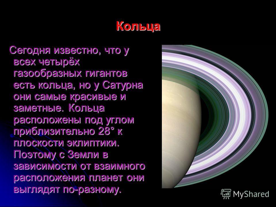 Кольца Сегодня известно, что у всех четырёх газообразных гигантов есть кольца, но у Сатурна они самые красивые и заметные. Кольца расположены под углом приблизительно 28° к плоскости эклиптики. Поэтому с Земли в зависимости от взаимного расположения