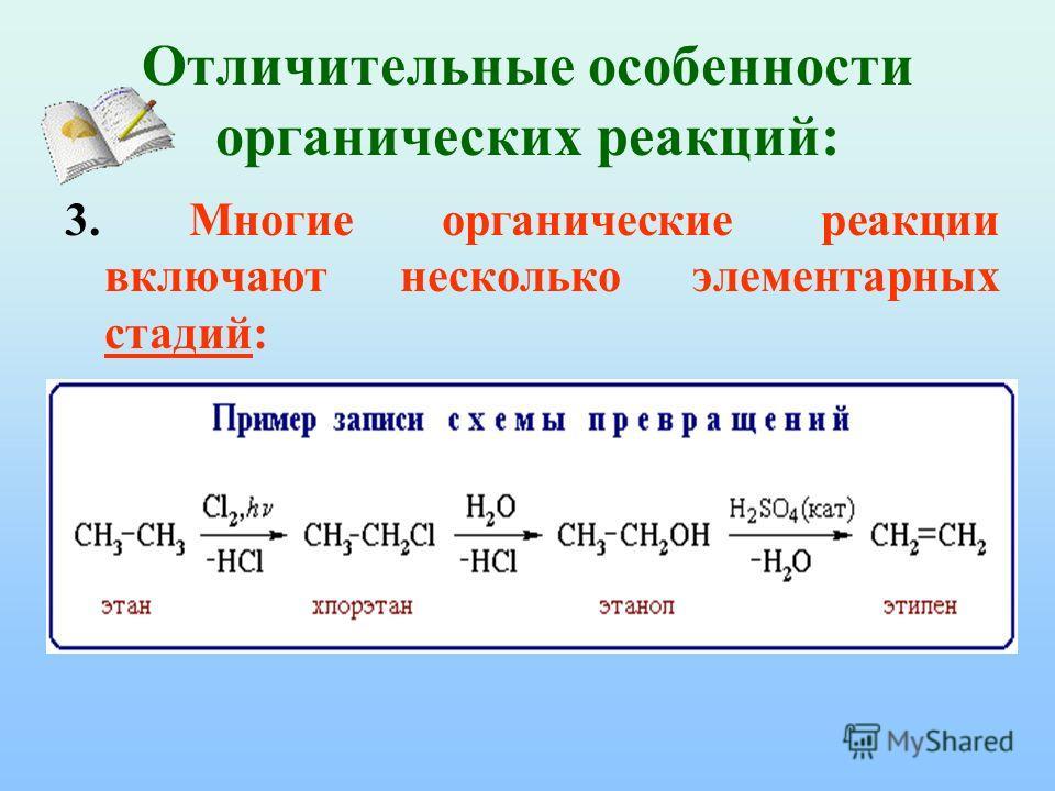 Отличительные особенности органических реакций: 3. Многие органические реакции включают несколько элементарных стадий: