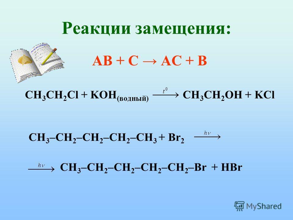 Реакции замещения: АВ + С АС + В CH 3 CH 2 Cl + KOH (водный) CH 3 CH 2 OH + KCl CH 3 –CH 2 –CH 2 –CH 2 –CH 3 + Br 2 CH 3 –CH 2 –CH 2 –CH 2 –CH 2 –Br + HBr
