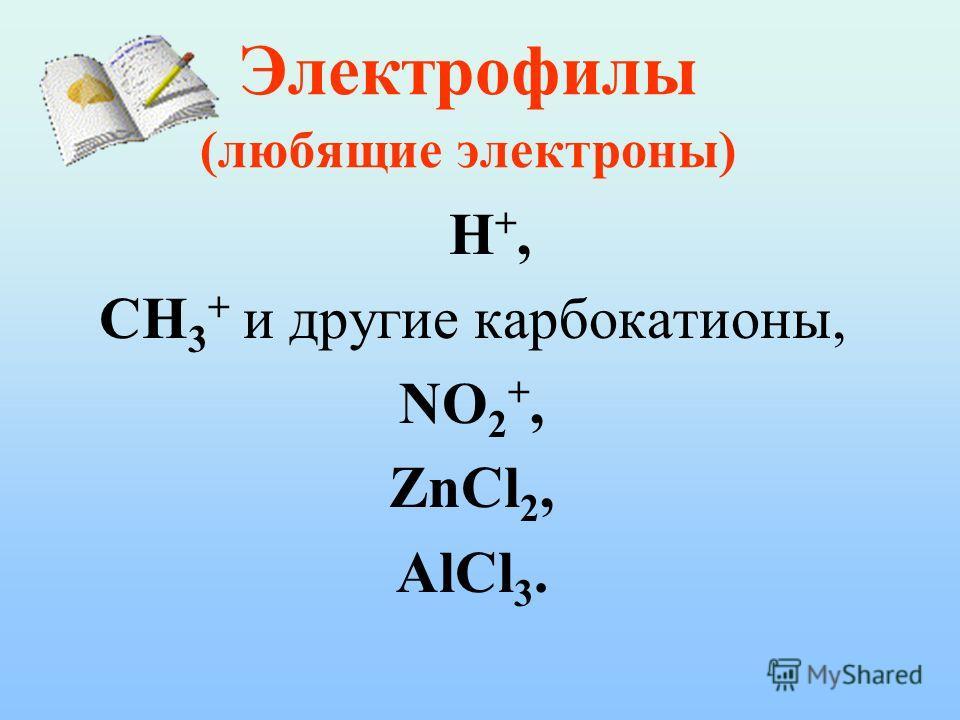 Электрофилы (любящие электроны) H+,H+, CH 3 + и другие карбокатионы, NO 2 +, ZnCl 2, AlCl 3.
