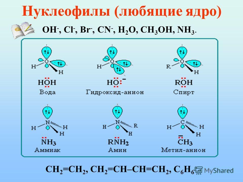 Нуклеофилы (любящие ядро) OH -, Cl -, Br -, CN -, H 2 O, CH 3 OH, NH 3. CH 2 =CH 2, CH 2 =CH–CH=CH 2, C 6 H 6
