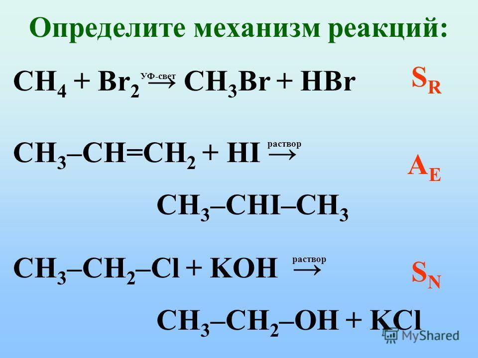Определите механизм реакций: CH 4 + Br 2 CH 3 Br + HBr УФ-свет SRSR CH 3 –CH=CH 2 + HI CH 3 –CHI–CH 3 раствор AEAE CH 3 –CH 2 –Cl + KOH CH 3 –CH 2 –OH + KCl раствор SNSN