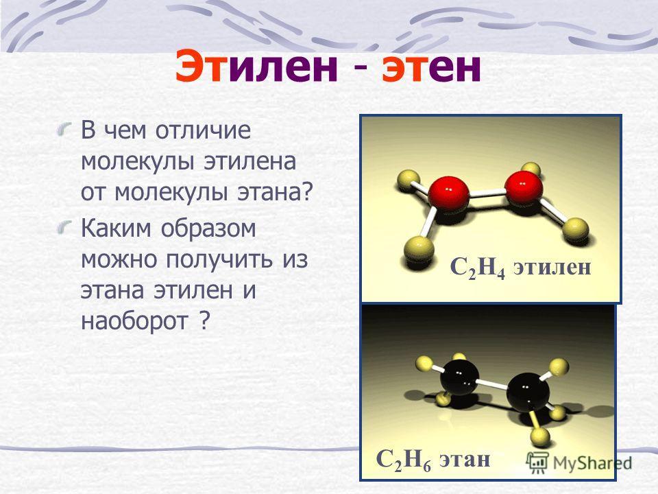 Этилен - этен В чем отличие молекулы этилена от молекулы этана? Каким образом можно получить из этана этилен и наоборот ? С 2 Н 6 этан С 2 Н 4 этилен