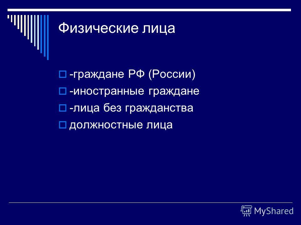 Физические лица -граждане РФ (России) -иностранные граждане -лица без гражданства должностные лица