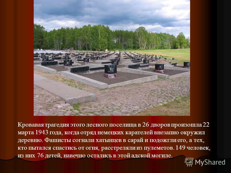 Кровавая трагедия этого лесного поселища в 26 дворов произошла 22 марта 1943 года, когда отряд немецких карателей внезапно окружил деревню. Фашисты согнали хатынцев в сарай и подожгли его, а тех, кто пытался спастись от огня, расстреляли из пулеметов