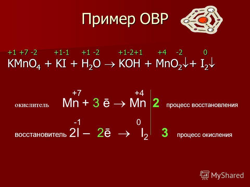Пример ОВР +1 +7 -2 +1-1 +1 -2 +1-2+1 +4 -2 0 KMnO 4 + KI + H 2 O KOH + MnO 2 + I 2 KMnO 4 + KI + H 2 O KOH + MnO 2 + I 2 +7 +4 окислитель Mn + 3 ē Mn 2 процесс восстановления -1 0 восстановитель 2I – 2ē I 2 3 процесс окисления