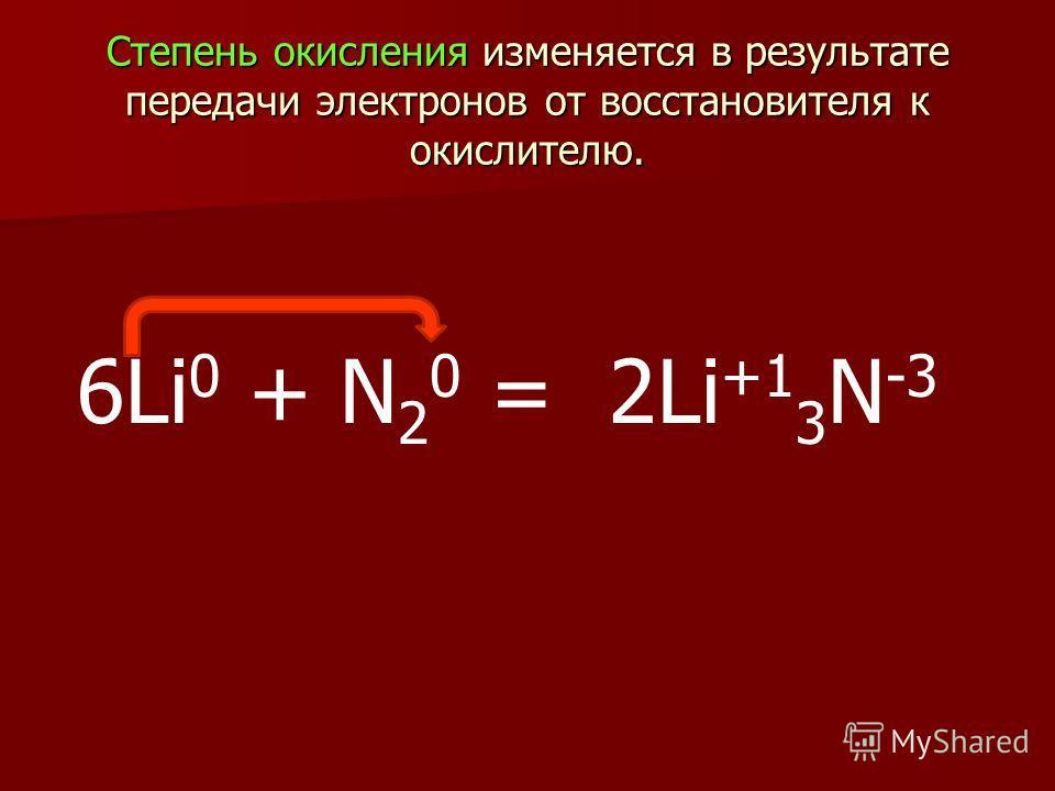 Степень окисления изменяется в результате передачи электронов от восстановителя к окислителю. Степень окисления изменяется в результате передачи электронов от восстановителя к окислителю. 6Li 0 + N 2 0 = 2Li +1 3 N -3