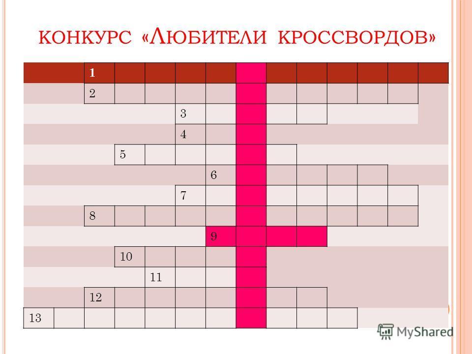 КОНКУРС «Л ЮБИТЕЛИ КРОССВОРДОВ » 1 2 3 4 5 6 7 8 9 10 11 12 13