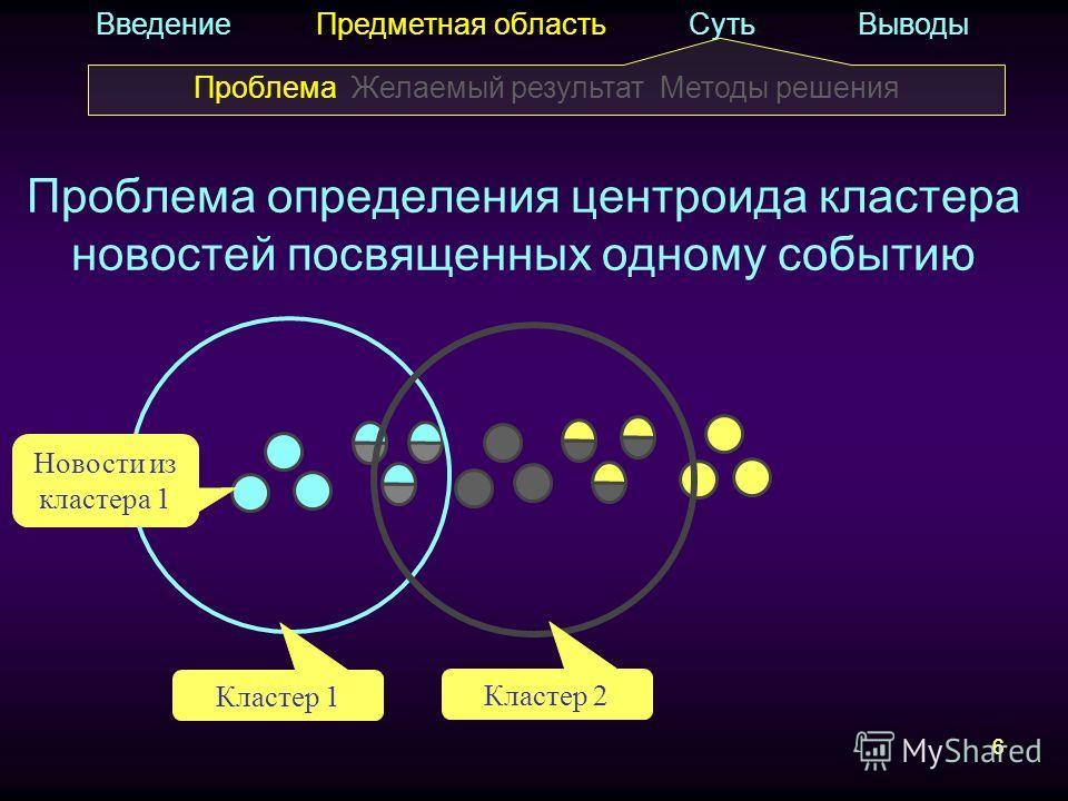 6 Проблема определения центроида кластера новостей посвященных одному событию 6 Введение Предметная область Суть Выводы Кластер 1 Новости из кластера 1 Кластер 2 Проблема Желаемый результат Методы решения