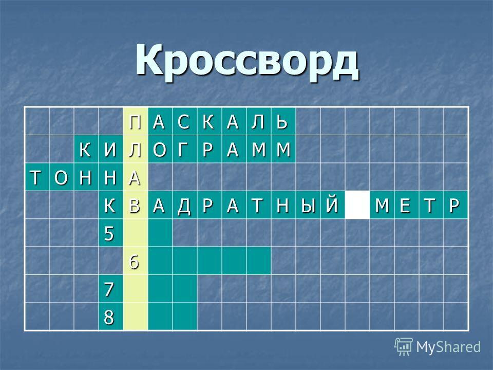 Кроссворд ПАСКАЛЬ КИЛОГРАММ ТОННА КВАДРАТНЫЙМЕТР 5 6 7 8