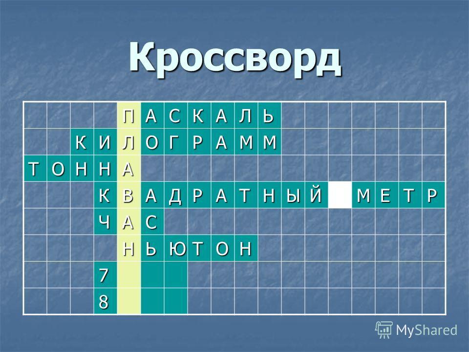 Кроссворд ПАСКАЛЬ КИЛОГРАММ ТОННА КВАДРАТНЫЙМЕТР ЧАС НЬЮТОН 7 8