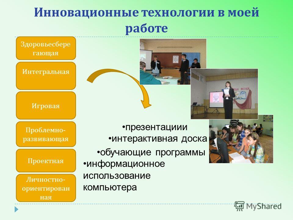Инновационные технологии в моей работе презентациии интерактивная доска обучающие программы информационное использование компьютера Интегральная Игровая Проблемно - развивающая Проектная Личностно - ориентирован ная Здоровьесбере гающая